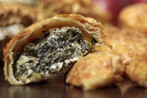 Savory pastry bites with feta cheese and spinach