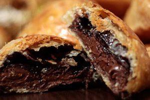 Sweet puff pastry bites hazelnut praline